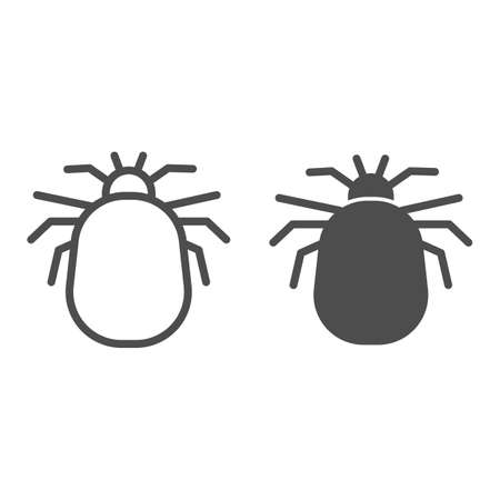 Flea line and solid icon, pests concept, home parasite jumping insect sign on white background, Flea silhouette icon in outline style for mobile concept and web design. Vector graphics.