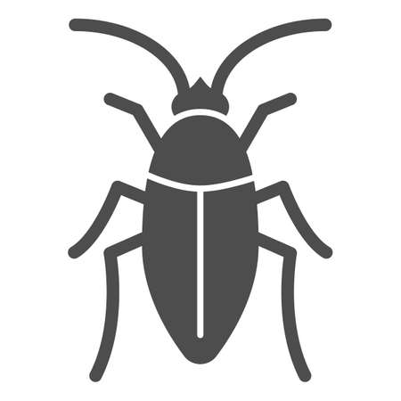 Cockroach solid icon, pests concept, beetle sign on white background, roach icon in glyph style for mobile concept and web design. Vector graphics.