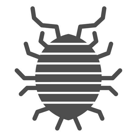 Woodlouse solid icon, bugs concept, Roll up bug sign on white background, Sowbug icon in glyph style for mobile concept and web design. Vector graphics.