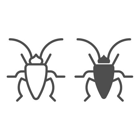 Cockroach line and solid icon, Insects concept, roach sign on white background, Cockroach silhouette icon in outline style for mobile concept and web design. Vector graphics.