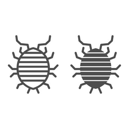 Woodlouse line and solid icon, bugs concept, Roll up bug sign on white background, Sowbug icon in outline style for mobile concept and web design. Vector graphics.