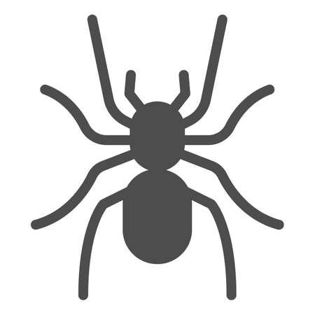 Tarantula solid icon, Insects concept, scary big spider sign on white background, dangerous tarantula icon in glyph style for mobile concept and web design. Vector graphics.