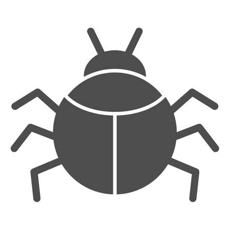 Beetle solid icon, Insects concept, bug sign on white background, round shaped beetle silhouette icon in glyph style for mobile concept and web design. Vector graphics.