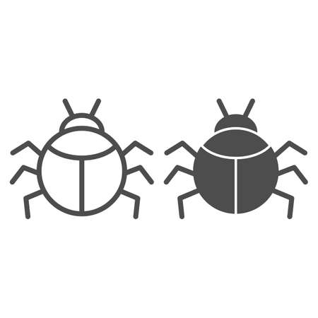 Beetle line and solid icon, Insects concept, bug sign on white background, round shaped beetle silhouette icon in outline style for mobile concept and web design. Vector graphics. Ilustração