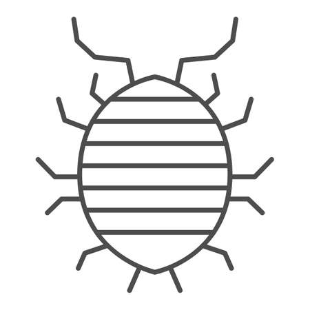 Woodlouse thin line icon, bugs concept, Roll up bug sign on white background, Sowbug icon in outline style for mobile concept and web design. Vector graphics.