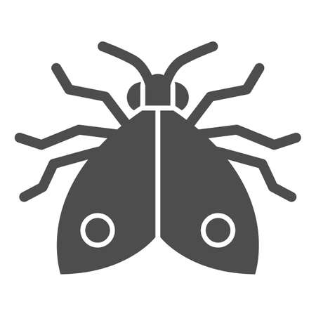Bedbug solid icon, pests concept, chinch sign on white background, home bedbug icon in glyph style for mobile concept and web design. Vector graphics. Vettoriali