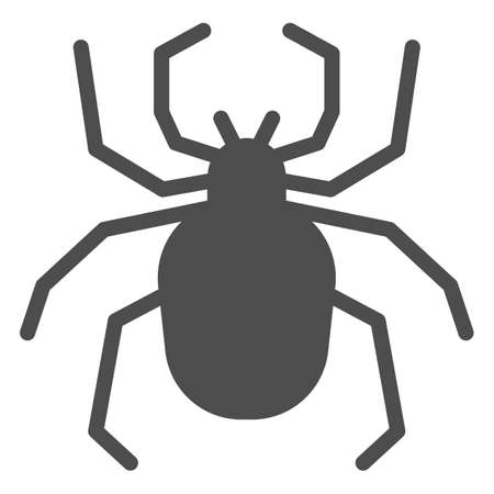 Spider solid icon, Insects concept, Scary arachnid insect sign on white background, spider silhouette icon in glyph style for mobile concept and web design. Vector graphics.