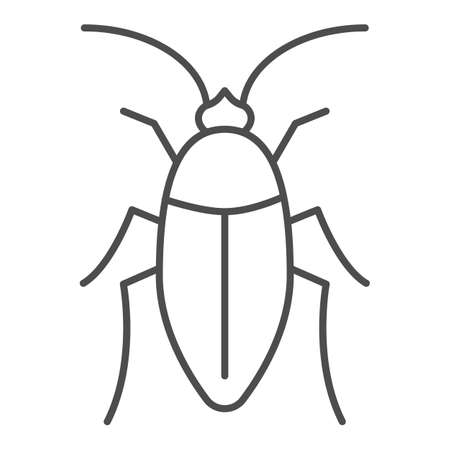 Cockroach thin line icon, pests concept, beetle sign on white background, roach icon in outline style for mobile concept and web design. Vector graphics.