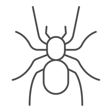 Tarantula thin line icon, Insects concept, scary big spider sign on white background, dangerous tarantula icon in outline style for mobile concept and web design. Vector graphics. Ilustração