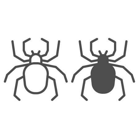 Spider line and solid icon, Insects concept, Scary arachnid insect sign on white background, spider silhouette icon in outline style for mobile concept and web design. Vector graphics.