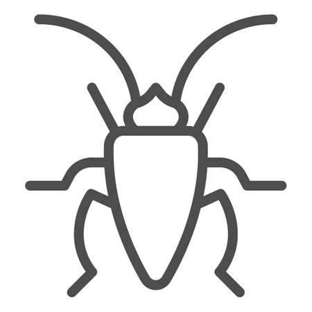 Cockroach line icon, Insects concept, roach sign on white background, Cockroach silhouette icon in outline style for mobile concept and web design. Vector graphics.