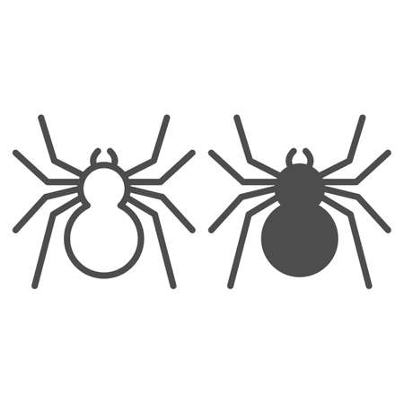 Spider line and solid icon, Insects concept, predatory arachnid sign on white background, classic spider icon in outline style for mobile concept and web design. Vector graphics.