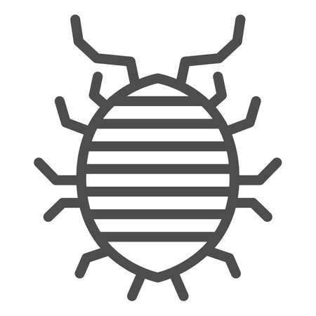 Woodlouse line icon, bugs concept, Roll up bug sign on white background, Sowbug icon in outline style for mobile concept and web design. Vector graphics. Vettoriali