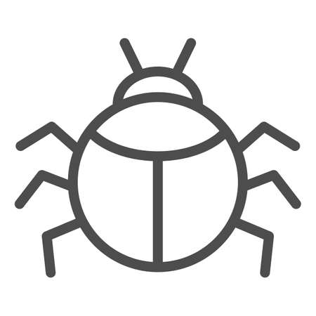 Beetle line icon, Insects concept, bug sign on white background, round shaped beetle silhouette icon in outline style for mobile concept and web design. Vector graphics.