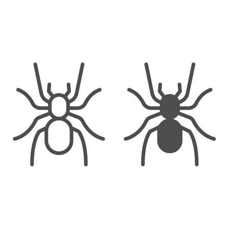 Tarantula line and solid icon, Insects concept, scary big spider sign on white background, dangerous tarantula icon in outline style for mobile concept and web design. Vector graphics. Ilustração