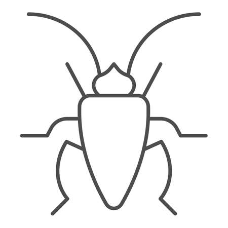 Cockroach thin line icon, Insects concept, roach sign on white background, Cockroach silhouette icon in outline style for mobile concept and web design. Vector graphics. Vettoriali