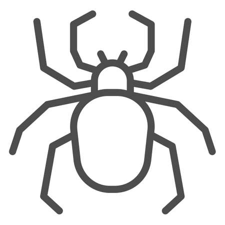 Spider line icon, Insects concept, Scary arachnid insect sign on white background, spider silhouette icon in outline style for mobile concept and web design. Vector graphics.