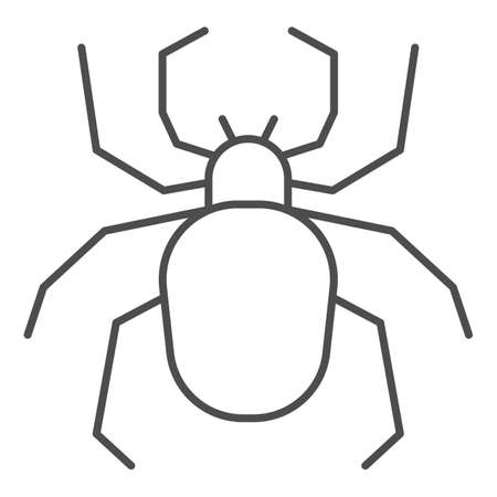 Spider thin line icon, Insects concept, Scary arachnid insect sign on white background, spider silhouette icon in outline style for mobile concept and web design. Vector graphics.
