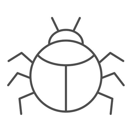 Beetle thin line icon, Insects concept, bug sign on white background, round shaped beetle silhouette icon in outline style for mobile concept and web design. Vector graphics.