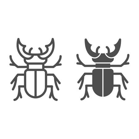 Beetle stag line and solid icon, Bugs concept, Deer beetle sign on white background, Stag-beetle icon in outline style for mobile concept and web design. Vector graphics.