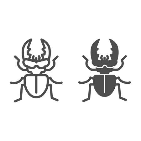 Stag-beetle line and solid icon, Insects concept, large beetle sign on white background, Deer bug icon in outline style for mobile concept and web design. Vector graphics.