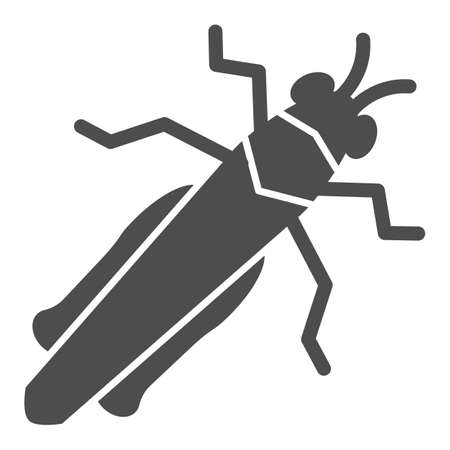 Grasshopper solid icon, Insects concept, locust sign on white background, cricket icon in glyph style for mobile concept and web design. Vector graphics.
