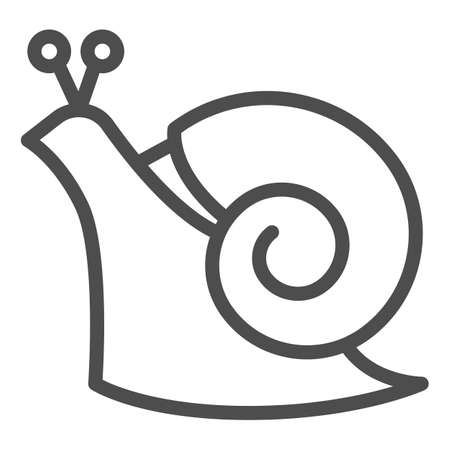 Snail line icon, wildlife concept, mollusk with spiral shell sign on white background, Garden snail icon in outline style for mobile concept and web design. Vector graphics.