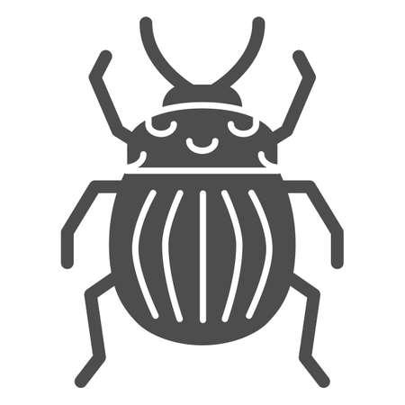 Colorado potato beetle solid icon, bugs concept, Striped Beetle sign on white background, Potato or Colorado bug icon in glyph style for mobile concept and web design. Vector graphics. Illusztráció