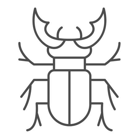 Beetle stag thin line icon, Bugs concept, Deer beetle sign on white background, Stag-beetle icon in outline style for mobile concept and web design. Vector graphics.