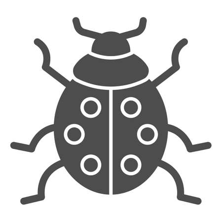Ladybug solid icon, beetles concept, ladybird sign on white background, lady-beetle icon in glyph style for mobile concept and web design. Vector graphics.