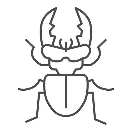Stag-beetle thin line icon, Insects concept, large beetle sign on white background, Deer bug icon in outline style for mobile concept and web design. Vector graphics. Illusztráció