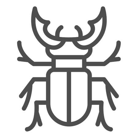 Beetle stag line icon, Bugs concept, Deer beetle sign on white background, Stag-beetle icon in outline style for mobile concept and web design. Vector graphics. Illusztráció