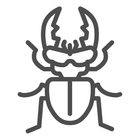 Stag-beetle line icon, Insects concept, large beetle sign on white background, Deer bug icon in outline style for mobile concept and web design. Vector graphics. Illusztráció