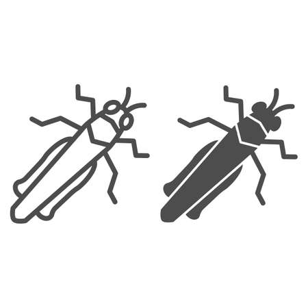 Grasshopper line and solid icon, Insects concept, locust sign on white background, cricket icon in outline style for mobile concept and web design. Vector graphics. Illusztráció