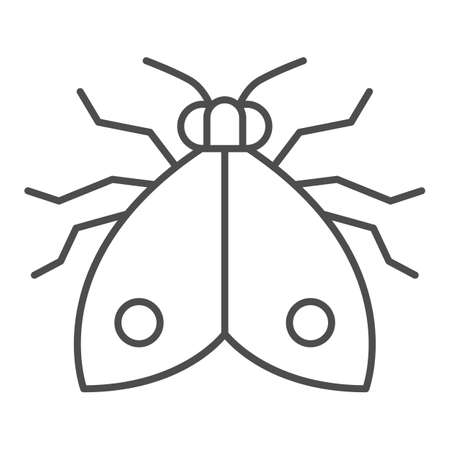 Bedbug thin line icon, pests concept, chinch sign on white background, home bedbug icon in outline style for mobile concept and web design. Vector graphics. Vettoriali