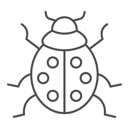 Ladybug thin line icon, beetles concept, ladybird sign on white background, lady-beetle icon in outline style for mobile concept and web design. Vector graphics. Illustration