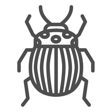 Colorado potato beetle line icon, bugs concept, Striped Beetle sign on white background, Potato or Colorado bug icon in outline style for mobile concept and web design. Vector graphics.