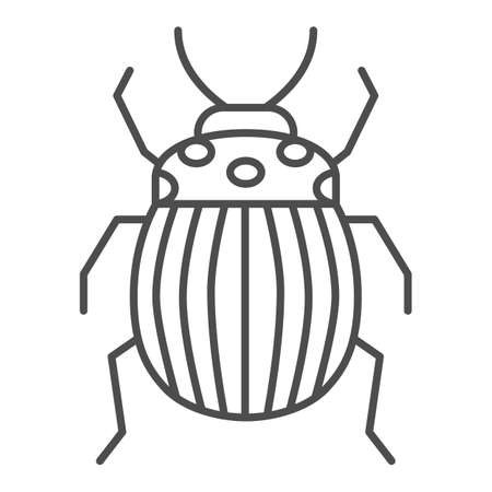 Colorado potato beetle thin line icon, bugs concept, Striped Beetle sign on white background, Potato or Colorado bug icon in outline style for mobile concept and web design. Vector graphics.
