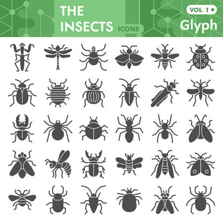 Insects solid icon set, bugs, beetles, termites symbols collection or sketches. Insects silhouettes glyph style signs for web and app. Vector graphics isolated on white background. 向量圖像