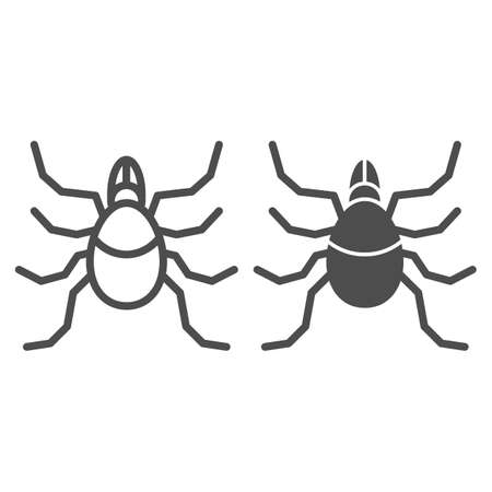 Mite line and solid icon, Insects concept, acarus sign on white background, tick icon in outline style for mobile concept and web design. Vector graphics.