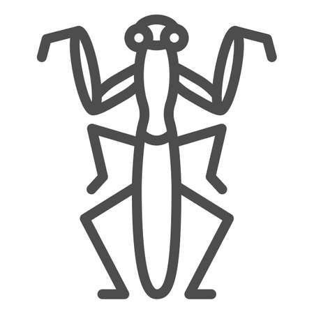 Mantis line icon, Insects concept, Beetle sign on white background, praying mantis icon in outline style for mobile concept and web design. Vector graphics.