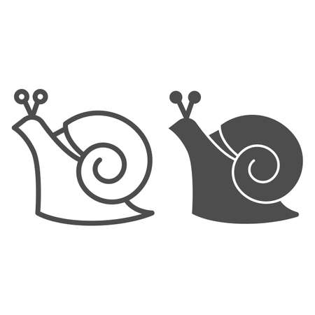Snail line and solid icon, wildlife concept, mollusk with spiral shell sign on white background, Garden snail icon in outline style for mobile concept and web design. Vector graphics.
