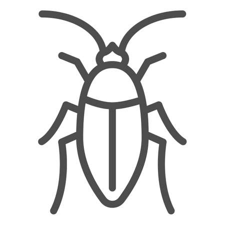 Cockroach line icon, pests concept, beetle sign on white background, roach icon in outline style for mobile concept and web design. Vector graphics. Vettoriali