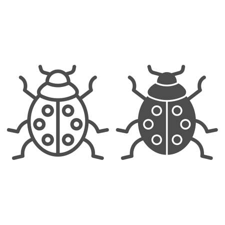 Ladybug line and solid icon, beetles concept, ladybird sign on white background, lady-beetle icon in outline style for mobile concept and web design. Vector graphics. Ilustracja