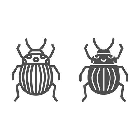 Colorado potato beetle line and solid icon, bugs concept, Striped Beetle sign on white background, Potato or Colorado bug icon in outline style for mobile concept and web design. Vector graphics. Çizim