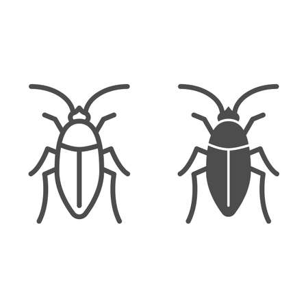 Cockroach line and solid icon, pests concept, beetle sign on white background, roach icon in outline style for mobile concept and web design. Vector graphics.