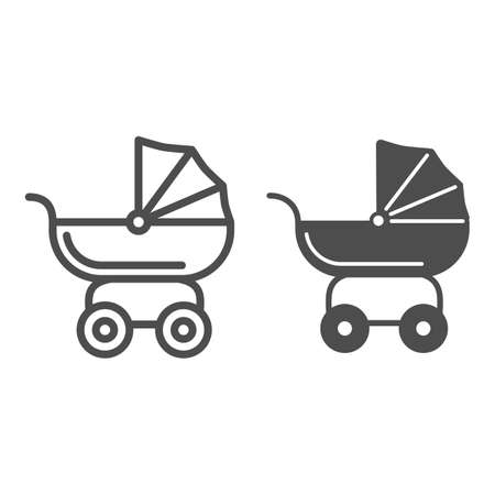 Pram for dolls line and solid icon, Kids toys concept, Toy baby carriage sign on white background, Baby doll stroller icon in outline style for mobile concept and web design. Vector graphics.