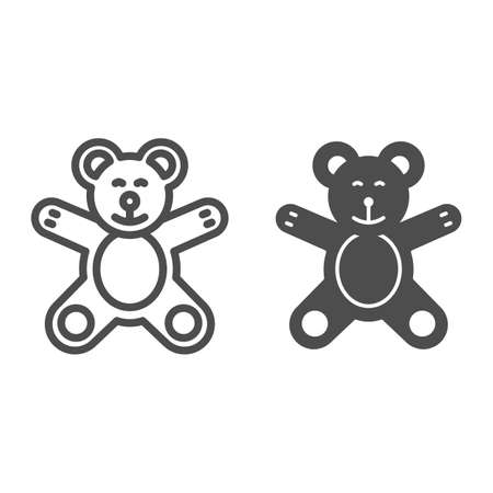Teddy Bear line and solid icon, Kids toys concept, plush toy sign on white background, Little teddy bear icon in outline style for mobile concept and web design. Vector graphics.