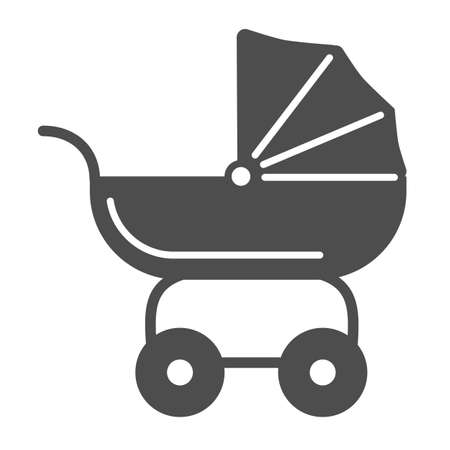 Pram for dolls solid icon, Kids toys concept, Toy baby carriage sign on white background, Baby doll stroller icon in glyph style for mobile concept and web design. Vector graphics. Ilustrace
