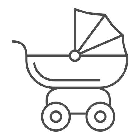 Pram for dolls thin line icon, Kids toys concept, Toy baby carriage sign on white background, Baby doll stroller icon in outline style for mobile concept and web design. Vector graphics.